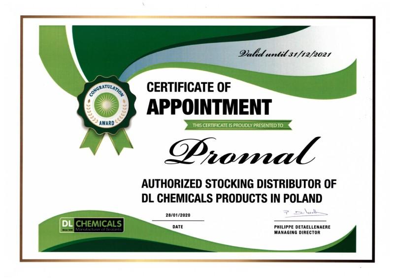 Certyfikat DL Chemicals